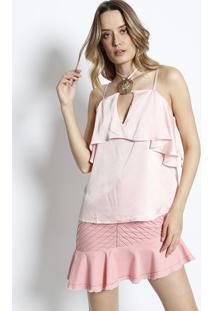 Blusa Frente Única Com Aplicação- Rosa Claro & Douradacharry