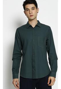 Camisa Slim Fit Com Bolso- Verde Escuro & Amarela- Fforum