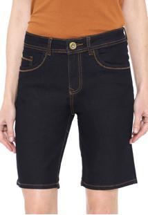 Bermuda Jeans Lez A Lez Reta Pespontos Azul-Marinho