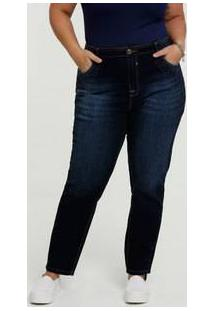 Calça Jeans Cigarrete Feminina Strass Plus Size Marisa