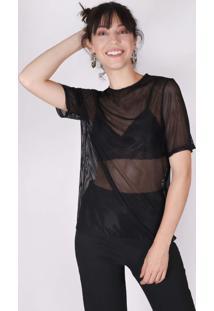 Camiseta Superfluous Tule Listras Preta - Preto - Feminino - Poliamida - Dafiti