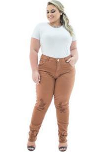 Calça Confidencial Extra Plus Size Jeans Cigarrete Destroyed Caramelo Feminina - Feminino-Marrom