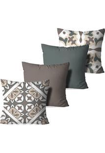 Kit 4 Capas Love Decor Para Almofadas Decorativas Mosaicos Multicolorido Marrom