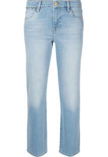 Frame Calça Jeans Slim Com Efeito Desgastado - Azul