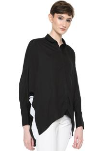 Camisa Calvin Klein Jeans Raglan Bicolor Preta/Branca