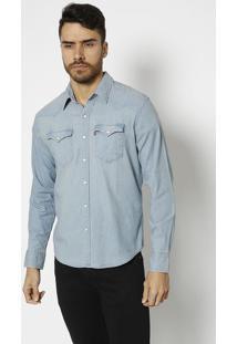 Camisa Jeans Com Bolsos & Botãµes- Azul Clarolevis
