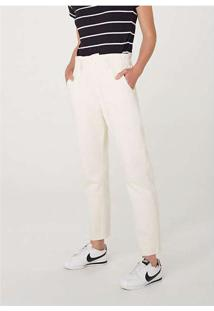 Calça Feminina Slouchy Em Jeans De Algodão Off-Whi