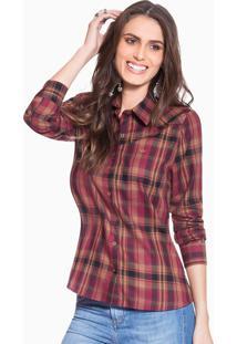 697c28eaa Ir para a loja; Camisa Xadrez Feminina Bordo Principessa Inês