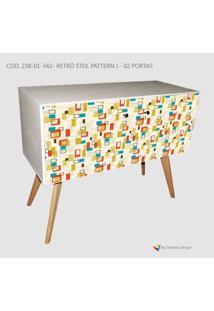 Armário Retrô Customizado Stijl Pattern I 2P, Mdf Branco, Pés Palitos, 71X90X35Cm, Develop Design