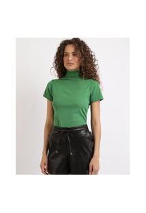Blusa Feminina Canelada Com Botões Manga Curta Gola Alta Verde