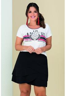 Blusa Plus Size Viscolycra Modal Manga Curta Branca