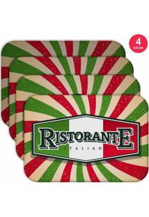 Jogo Americano Love Decor Wevans Restaurante Italiano Kit Com 4 Pçs