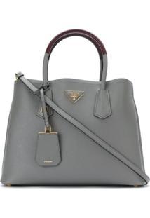 Prada Bolsa 'Double Bag' De Couro - Cinza