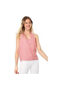 Blusa Frente Única Lez A Lez Rayas Branca/Vermelha