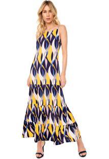 Vestido Queens Paris Longo Estampado Azul-Marinho/Amarelo
