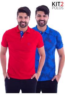 ... Kit 2 Camisas Polo Live - Lifestyle Com Bolso Vermelha E Leaf Azul  Royale Kit 2 744dad2b85a40