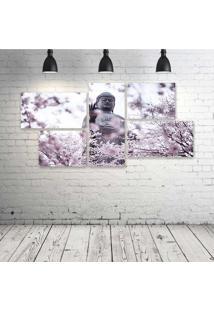 Quadro Decorativo - Flowering-Buddha - Composto De 5 Quadros - Multicolorido - Dafiti