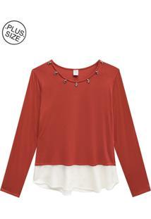 Blusa Lecimar Plus Em Viscose E Tricoline Outono Inverno G3 Vermelho Médio