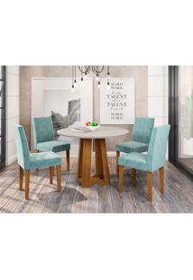 Conjunto De Mesa De Jantar Com Tampo De Vidro Isabela E 4 Cadeiras Giovana Animalle Off White E Azul