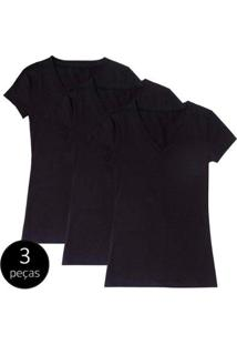 Kit Com 3 Blusas Part.B Decote V - Feminino-Preto