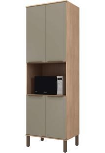 Paneleiro Torre Quente Modulado 4 Portas 1 Nicho Para Forno Verace Siena Móveis Havana/Taupe