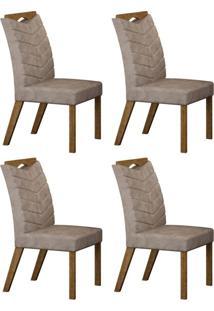 Conjunto Com 4 Cadeiras Verona Ipê E Cinza