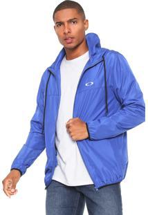Jaqueta Corta Vento Oakley Logo Azul