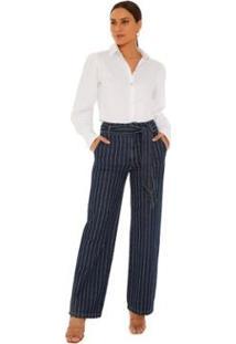 Calça Maria. Valentina Reta Oversized Cós Alto Com Faixa Jeans Feminina - Feminino