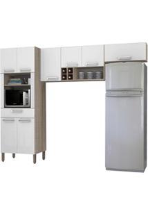 Cozinha Compacta Ametista 8 Portas Composição 2 Nogal/Branco - Kit'S P