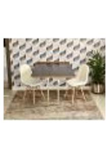 Conjunto De Mesa 1,40 Preto/Noronha Inox + 2 Cadeiras Botonê - Branca