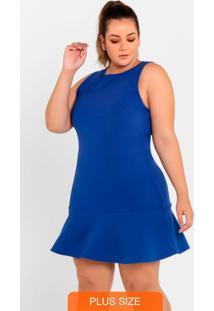 Vestido Regata Com Babado Azul