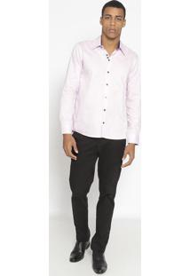 Camisa Slim Fit Texturizada Listrada- Rosa Claro- Opopthy