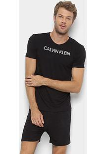 Pijama Calvin Klein Manga Curta Básico Masculino - Masculino