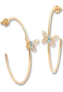 Argola Le Diamond Aberta Com Mini Borboleta Dourada