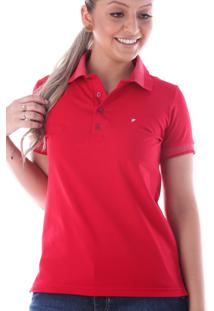 bad7aae27c Camisa Pólo Ombro Vermelha feminina