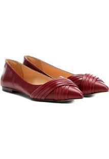 Sapatilha Couro Shoestock Bico Fino Drapeado Feminina - Feminino-Bordô