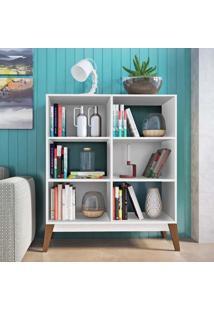 Estante Para Livros Baixa 4 Prateleiras 0807 Retrô Genialflex Branco