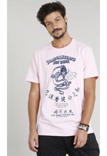 Camiseta Masculina Com Estampa De Dragão Manga Curta Gola Careca Rosa Claro