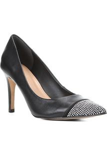 Scarpin Couro Shoestock Salto Alto Brilho - Feminino-Preto