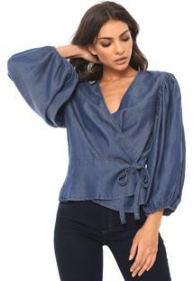 Blusa Jeans Colcci Transpassada Azul