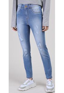 Calça Jeans Feminina Sawary Skinny Cintura Alta Destroyed Azul Médio