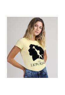 Blusa Feminina O Rei Leão Manga Curta Decote Redondo Amarelo Claro