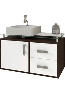Balcão Para Banheiro Suspenso Com 2 Gavetas E Cuba Evora-Mgm - Café / Branco