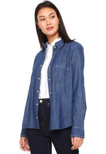Camisa Jeans Maria Filó Pespontos Azul