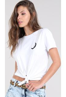 Blusa Feminina Lunar Com Fenda Manga Curta Decote Redondo Off White