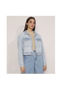Jaqueta Cropped Ampla Jeans Com Bolsos Azul Claro