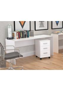 Conjunto Escritório Office Plus Appunto 2 Peças: Mesa E Gaveteiro Com 3 Gavetas - Branco