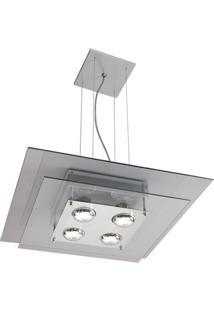 Pendente Quadrado Em Vidro Para 1 Lâmpada Spacial 73X50Cm Transparente