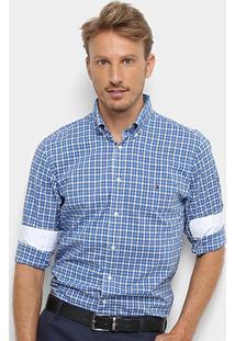 Camisa Xadrez Manga Longa Tommy Hilfiger Masculina - Masculino-Azul