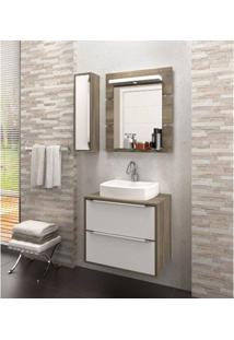 Gabinete Para Banheiro Suspenso Com Espelheira Nicho E Cuba Ravena 60Cm Branco Supremo/Merlot